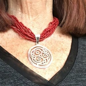 Silpada Red Coral Necklace with SS Celtic Pendant